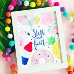 Watercolor Sun & Fun–Free Printable