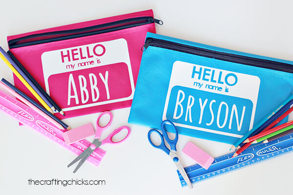 How to create a personalized pencil pouch for back to school.