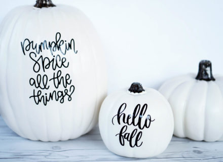 Customized Pumpkins With Adhesive Vinyl